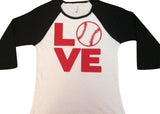 Baseball Womens Raglan Tee - LOVE - Ruffles with Love