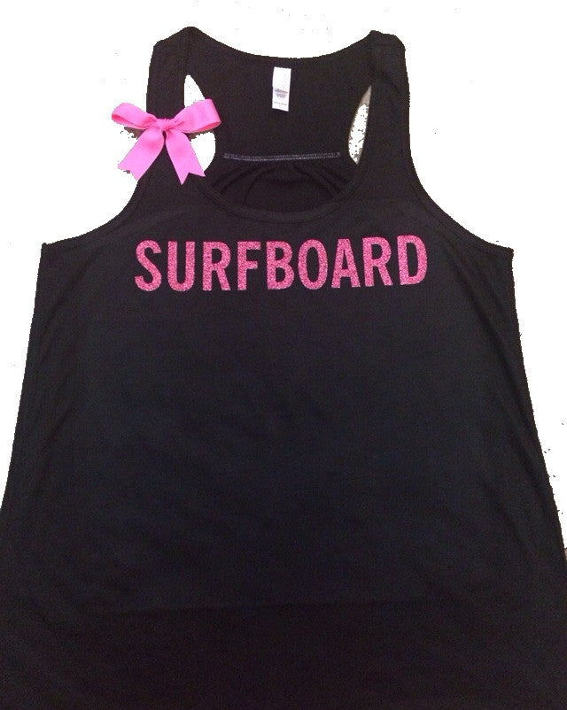 Surfboard - Racerback tank - Fun tank - Womens Fitness Tank - Workout clothing