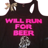 Will Run For Beer - Pink -  Ruffles with Love - Fitness Tank - Womens Workout Clothing