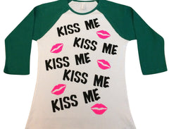 BLACK FRIDAY SAMPLE SALE - Kiss Me - Saint Patricks Day - Baseball  Tee - Raglan T-shirt - Ruffles with Love