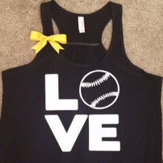 Love Baseball Tank - Black - Ruffles with Love - Fun Tank - LOVE Symbol Tank