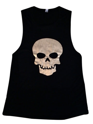 Skull - Muscle Tank - Ruffles with Love - Womens Fitness Clothing - Workout Tank