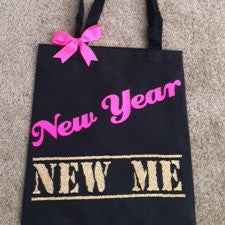 SALE - New Year New Me - Tote Bag - Ruffles with Love - Fitness Apparel - Womens Fitness