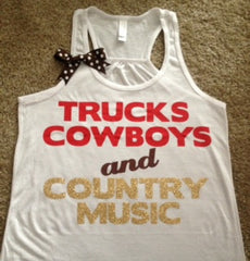 Trucks Cowboys and Country Music Racerback Tank