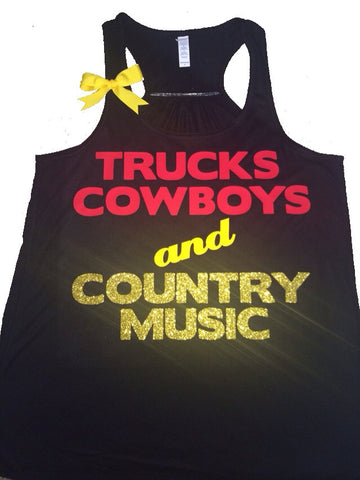 Trucks Cowboys and Country Music - Black  - Country Shirt - Ruffles with Love