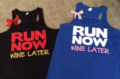 Run Now Wine Later - Racerback Workout Tank - Womens Fitness - Ruffles with Love - Fitness Tank