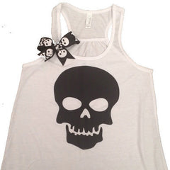 Skull Tank - White - Ruffles with Love - Skull - Fun Tank - Workout Tank - Womens Fitness