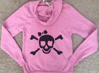 SALE - Pink Skull - Eco Fleece - Workout Zip Up Hoodie - Ruffles with Love