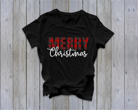 Merry Christmas - Buffalo Plaid  - Ruffles with Love - Tee