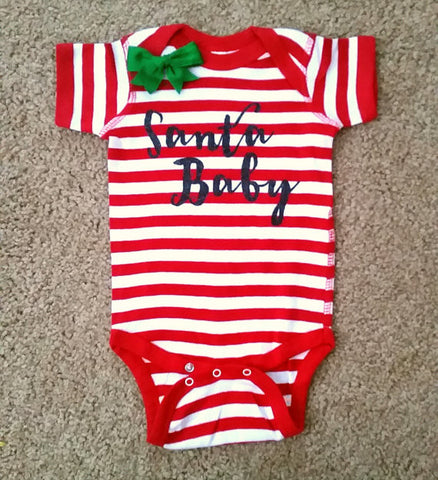 Santa Baby - Christmas Baby - Mia Grace Designs - Girls Onesie -  Body Suit - Glitter  - Onesie - Ruffles with Love - Baby Clothing - RWL Kids