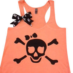 Skull and Crossbones Tank - Neon - Ruffles with Love - Fun Tank - Skull Tank
