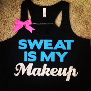 Sweat is my Makeup- Bow Tank - Ruffles with Love - Fun Tank - Workout Tank