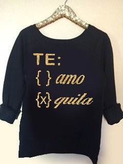 Te Amo - Tequila  - Ruffles with Love - Off the Shoulder Sweatshirt - Womens Clothing - RWL