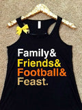 Family Friends Football and Feast - Thanksgiving List Shirt - Ruffles with Love - Thanksgiving Shirt