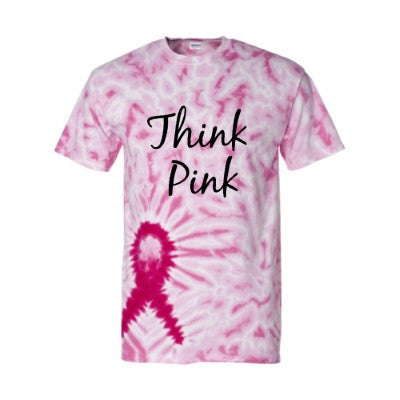 Think Pink - Ruffles with Love - Tie DyedT-shirt - Womens Fitness - Workout Clothing - Workout Shirts with Saying