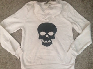 SALE - Skull Sweatshirt - Eco Fleece - Workout Zip Up Hoodie - Ruffles with Love