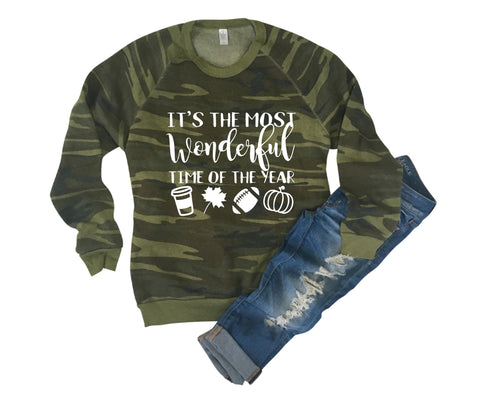 It's The Most Wonderful Time of the Year - Camo Sweatshirt - Eco Fleece - Ruffles with Love - RWL
