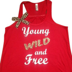 Young Wild and Free - Ruffles with love - Inspirational Tank - Fitness Tank - Womens Fitness