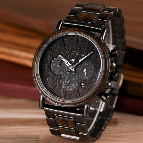 Mens Wooden Watch Luxury Stylish Chronograph Military Watch Wooden Gift Box