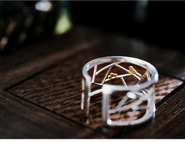 925 Sterling Silver Open Ring Paper-cut Design