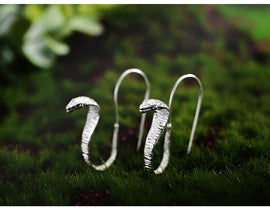 925 Sterling Silver Handmade Fine Snake Drop Earrings