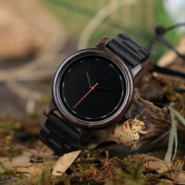 Natural Black Wooden Ebony Quartz Wristwatch