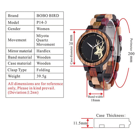 Luxury Lovers' Wooden Watches for Men or Women Handmade Quartz Wrist Watches
