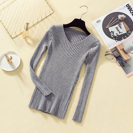 """V"" Neck Soft Ribbed Knitted Sweater"