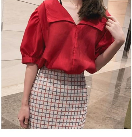 Chiffon Skirt Checks High Waist Slim Fit Mini Skirt