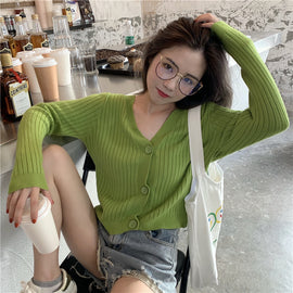 Short Cardigan V-Neck Knitted Sweater Three Button Casual Cardigan