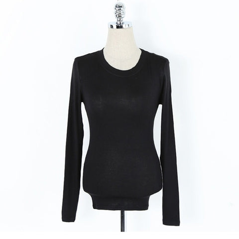Cotton Long Sleeve Slim Fitted Tops