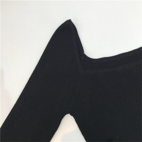 Black Elegant One Size Scoop Neck Long Sleeve Cotton Pullover