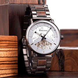 Wooden  Watch Japanese Quartz Timepiece Chronograph Military Wristwatch