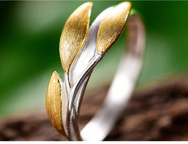 925 Sterling Silver Handmade Minimalist Design Leaf Ring