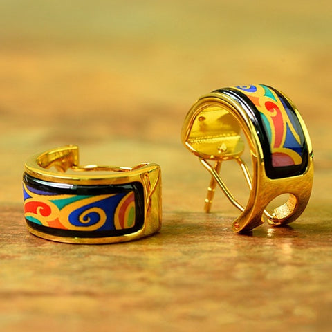 I. Bocai New Wave Pattern Enamel Earrings And Rings. Beautiful spring and summer colours.