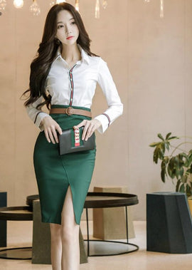 Long Sleeve White Blouse and Green Pencil Skirt
