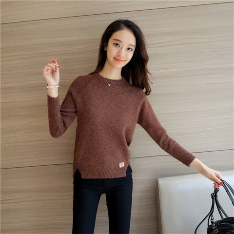 Long Sleeve Knitted Sweaters, Simple.