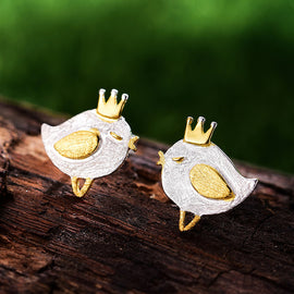 925 Sterling Silver Princess Bird  Stud Earrings