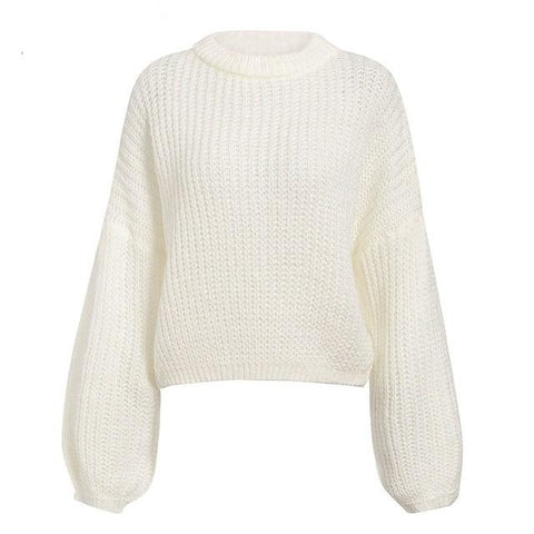 Winter Lantern Sleeve Knitted Sweater