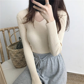V Neck Knitted Sweater Slim Winter One Sized Tops
