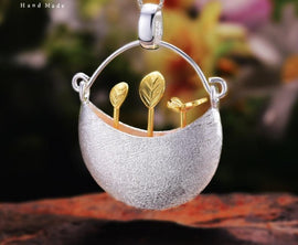 925 Sterling Silver Handmade 'My Little Garden Design Pendant'