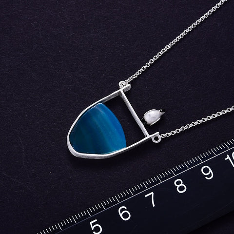 925 Sterling Silver Penguin Necklace With Natural Agate Gemstone
