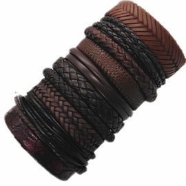 Collection Of Ten Leather Bracelets, Wear All Together Or One At A Time