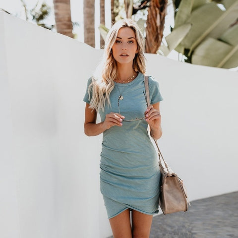 Summer Short Sleeve Mini Dress