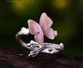 925 Sterling Silver Handmade Cute Butterfly on Branch Ring
