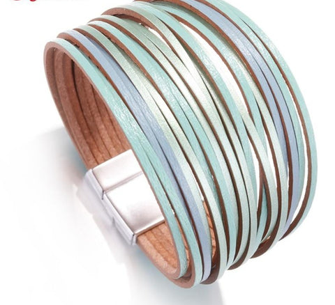 Boho Mint Leather Bracelet