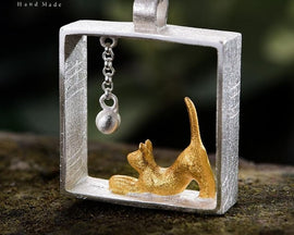 925 Sterling Silver Designer Fashion Cat Playing With Ball.  Necklace Is Not Included