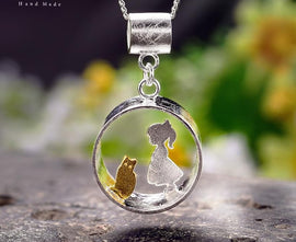 925 Sterling Silver Handmade Meeting Love With Cat Pendant. Necklace is NOT included