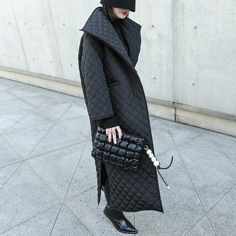 Black Long Cotton-Padded Coat