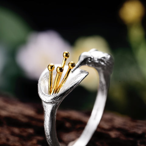 925 Sterling Silver Adjustable Hummingbird Ring